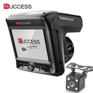 Image 1 - Original Ruccess 3 in 1 Radar Dvr FHD 1296P Built in GPS Car Detector Dual lens Car Camera Anti Radar Detector Russian Speedcam