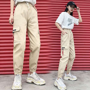Trousers Women Pants Joggers Street-Wear Cargo Elasticated High-Waist Moto Loose Link-Chain
