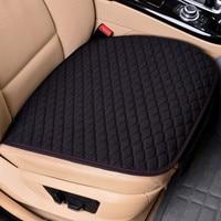 Tecido de linho capa assento do carro quatro estações frente almofada linho traseiro respirável protetor esteira almofada acessórios auto universal tamanho|Suportes de assento| |  -