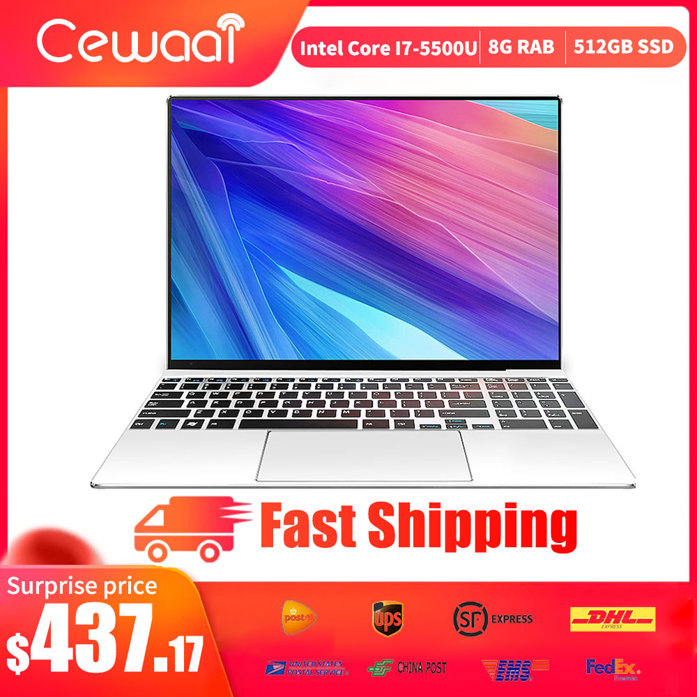 Cewaal 2020 Newest 15.6inch Intel Core I7-5500U Laptop 8GB RAM 512GB SSD Notebook Dual Band WiFi HDMI USB 3.0 RJ45 Gigabit PC
