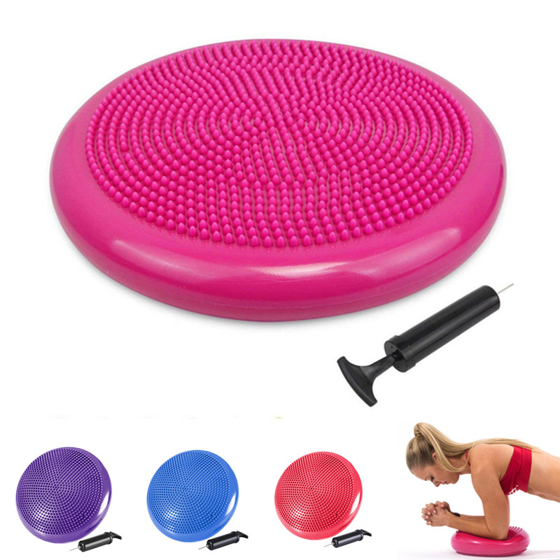 33x33cm Inflatable Yoga Massage Ball With Air Pump Stability Wobble Cushion Yoga Balance Disc Exercise Ball Pilates Workout