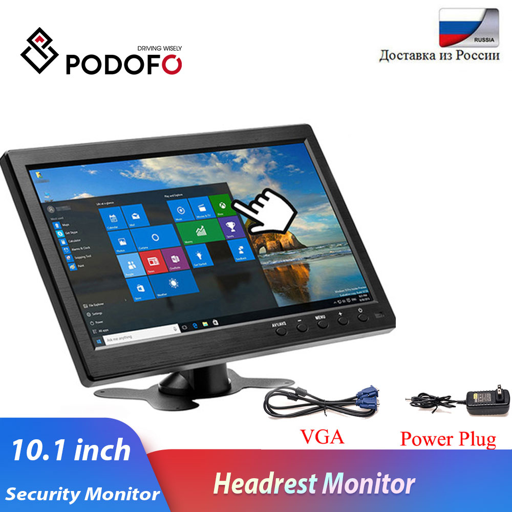 Podofo 10 1inch LCD HD Car Headrest Monitor HDMI VGA AV USB SD TV amp PC 2 Channel Video Input Security Monitor DVD player With Speaker