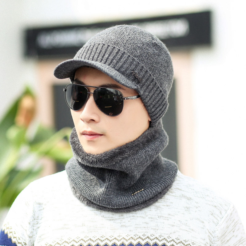 New Winter Hat Scarf Set Skullies Beanies Hat Winter Beanies For Men Women Wool Scarf Caps Balaclava Mask Bonnet Knitted Hat