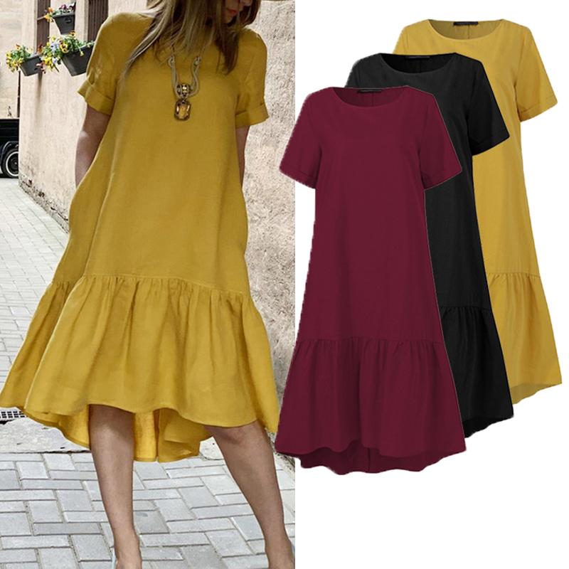 Women Dress Holiday Summer ZANZEA Short Sleeve Sundress Solid Casual Kaftan Ruffles Loose Vestidos Pockets O Neck Robe Femme 5XL