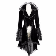Women Lace Trim Lace-Up High Low Coat Black Steampunk Victorian Style Gothic Jacket Medieval Noble Court Dress S-5XL#F(China)