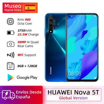 Перейти на Алиэкспресс и купить Глобальная версия Huawei Nova 5 T 5 T 8GB 128GB смартфон 48MP камеры Фронтальная 32MP 6,26 'экран Kirin 980 Android 9