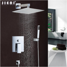 JIENI Good Quality Best Price Chrome Polish Bath Shower Mixer Faucet Set Single Handle Bathroom Rainfall Rain Shower Set Faucet