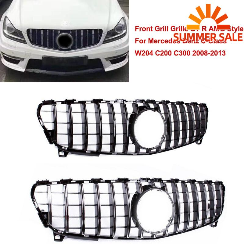 For <font><b>Mercedes</b></font> Benz Front Grill Upper Grille GT R AMG Style C-Class W204 C200 <font><b>C300</b></font> 2008 2009 2010 2011 <font><b>2012</b></font> 2013 Accessories image
