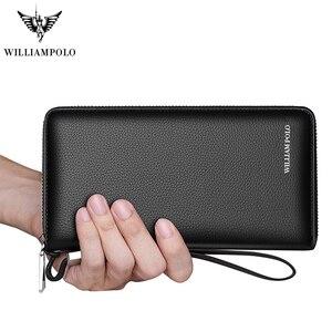 Image 3 - ويليابولو رجالي محفظة جلدية حقيقية حقيبة المال تتفاعل بطاقة حزمة مخلب غطاء جواز سفر محفظة طويلة عملة محافظ تصميم الأزياء