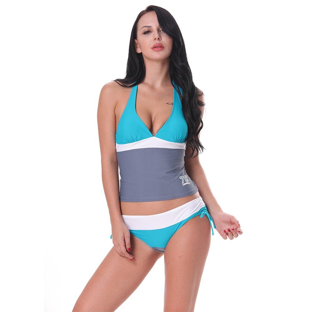 Womens High-waisted Conservative Bikini Printed Swimwear Bikinis Set Swimsuit Beachwear Bathing Biquinis Two Piece Swim Summer