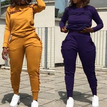 Women Running Sets Long Sleeve Two-Piece Solid Sports Suit Elastic Waist Tracksuit Gym Training Yoga Jogging Sportswear(China)