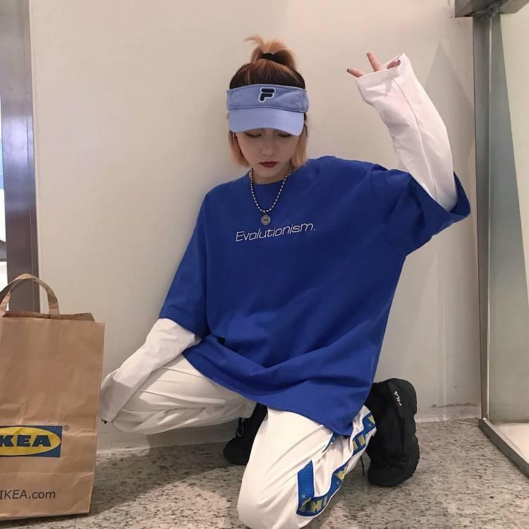 Spring Autumn female  Casual O-Neck stripe Tees harajuku Loose hoodie Women Long Sleeve Oversize top Hip Hop Sweatshirt ins 18