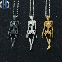 Original Design Full Body Skeleton Pendant S925 Sterling Silver Skull Chest