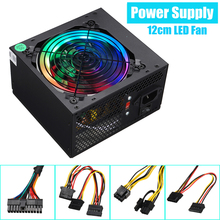 Max 800W alimentation 12cm multicolore LED rgb ventilateur 24 broches PCI SATA 12V ordinateur alimentation