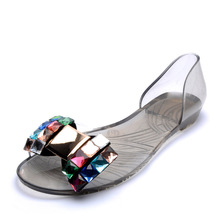 = women's flat with crystal motif on flat-heeled sandals woman shoes