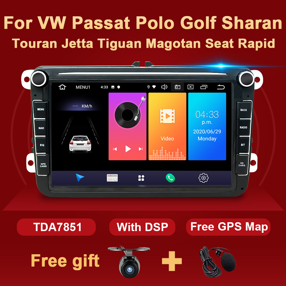 DSP Android 2 Din Car Radio GPS Multimedia For VW Passat B6 CC Polo Golf 5 6 Touran Jetta Tiguan Magotan Seat Rapid Fabia NO DVD image
