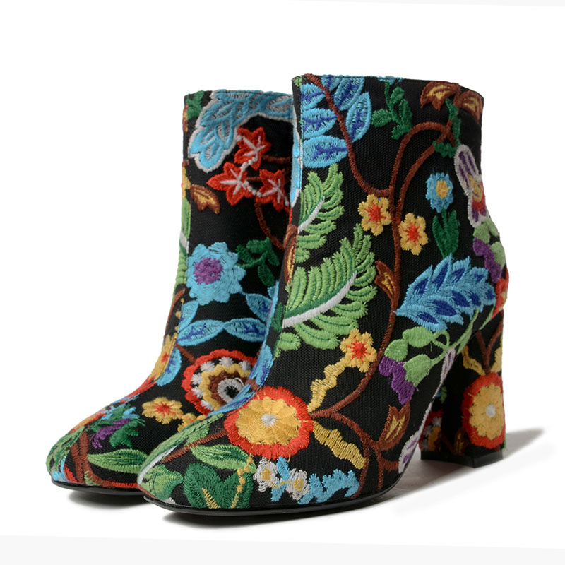 Winter Shoes Women Ankle Boots Short Plush Back Embroide Boots Side Zipper High Heels Botas Mujer Chunky Heels Zapatos Mujer