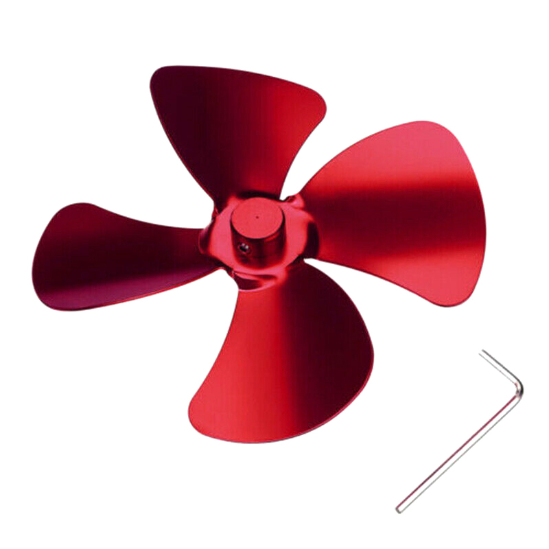 Aluminum Alloy 4 Blades Accessories For Stove Fan Fireplace Heat Powered Saving @LS