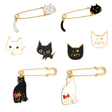 Black White Couple Cat Pins I LOVE CATS Cute Brooches Badges Bag Accessories Enamel Pins Jewelry Festival Gifts For Lover Friend(China)