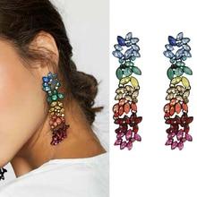 Fashion Colorful Rhinestone Geometric Flowers Long Pendant Drop Tassel Earrings Womens for Daily Party