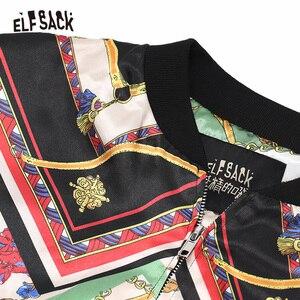 Image 4 - ELFSACK Vintage Multi Print damskie płaszcze, 2019 jesień Streetwear Casual Korea luźne kurtki damskie New Fashion Woman najlepsze ubrania