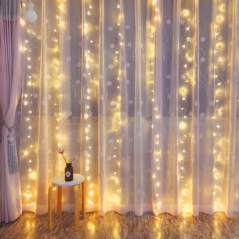 2x1/3x2/3x3M LED Copper Wire String Lights Christmas Garland Indoor Outdoor Fairy Lights Home Window Wedding Party Decorations