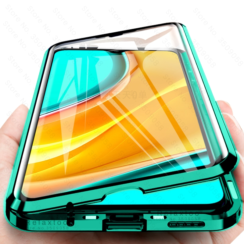redmy 9 case 360° full metal magnetic flip case covers for xiaomi redmi 9 double-sided tempered glass coque readmi 9 case redmi9