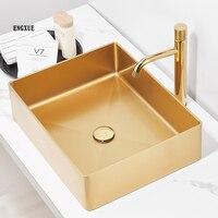 304 Stainless Steel Gold Brush Wash Bsin Rectangular Countertop Basin Hotel KTV Bathroom Wash Basin Shampoo Bowl Vessel Sinks