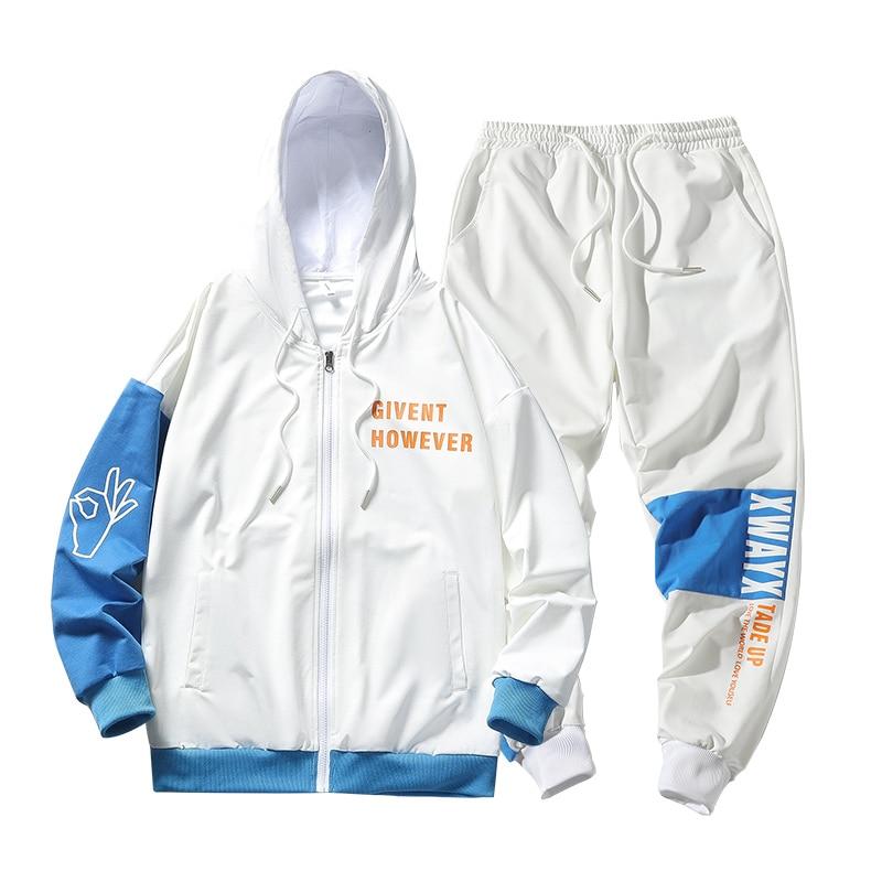 2020 New Men Tracksuit Fashion Mens Hip Hop Men Set 2PC Hooded Sweatshirt Jacket And Pants ABZ630