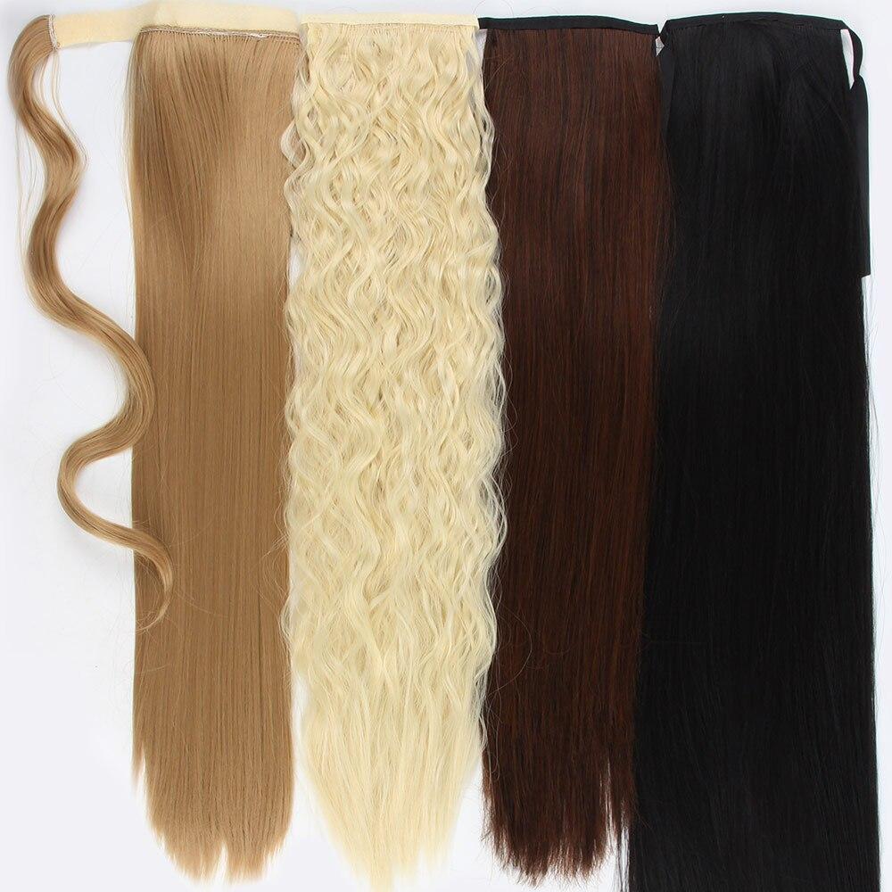 Afro fake hairpiece 18 32 32 drawstring longo cordão rabo de cavalo grampo de extensão do cabelo sintético na cauda de pônei encaracolado cabelo bun peças extensões