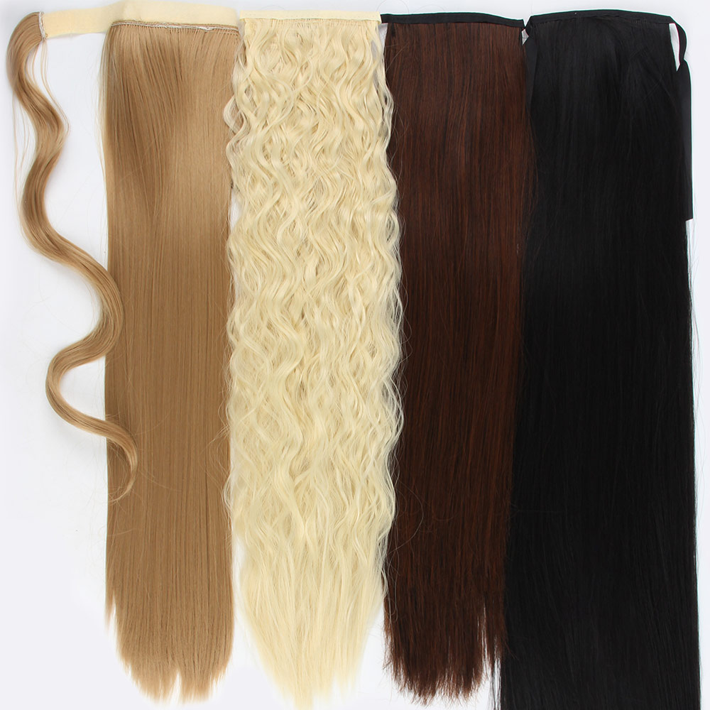 Afro Fake Hairpiece 18 32'' Long Drawstring Ponytail Synthetic Hair Extension Clip In Curly Pony Tail Hair Bun Pieces Extensions
