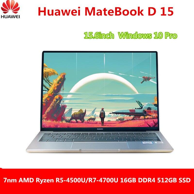 Ноутбук Huawei MateBook D 15 2020, 15,6 дюйма, AMD Ryzen r5-4500U/r7-4700U 7 нм, 16 ГБ DDR4 512 Гб SSD, Windows 10 Pro, английский язык
