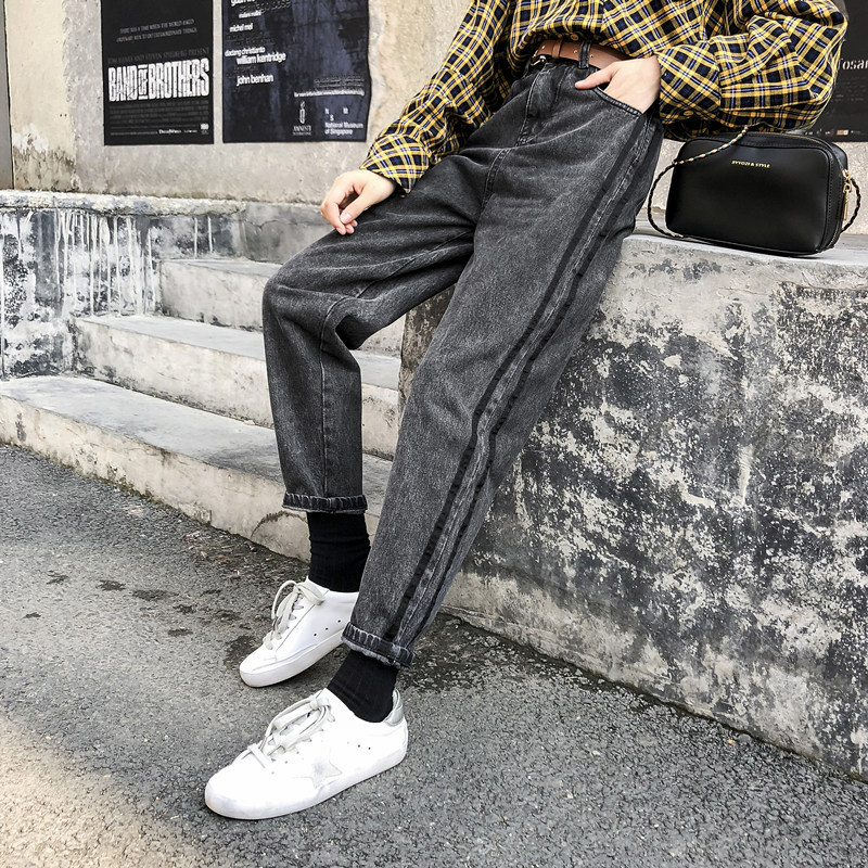 2019 Autumn Clothing Large Size Dress Large GIRL'S Jeans Women's Loose-Fit 200 Of Fat Mm Capri Pants A Generation Of Fat
