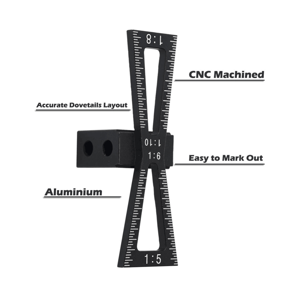 Dovetail Marker Aluminum Alloy Hand Cut Wood Joints Gauge Dovetail Guide Tool With Scale Dovetail Template 1:5 1:6 1:8 1:10