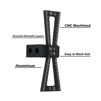 Dovetail Marker Aluminum Alloy Hand Cut Wood Joints Gauge Dovetail Guide Tool with Scale Dovetail Template 1:5 1:6 1:8 1:10 фото