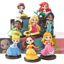 8pcs/lot Q Posket princesses figure Toys Dolls Tiana Snow White Rapunzel Ariel Cinderella Belle Mermaid PVC Figures toys