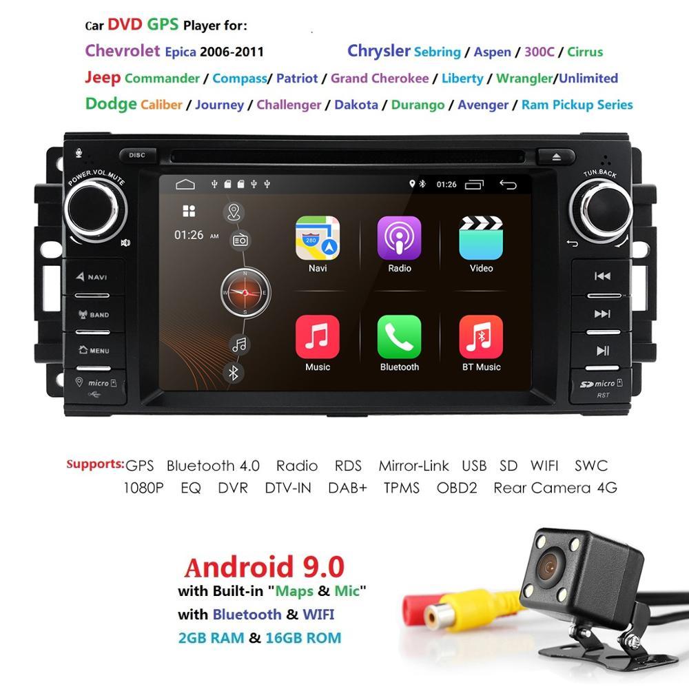 Lecteur DVD GPS stéréo de voiture Android 9.0 Quad Core Navi pour Jeep boussole/Wrangler Chevrolet Epica/Chrysler Sebring Aspen Cirrus DAB