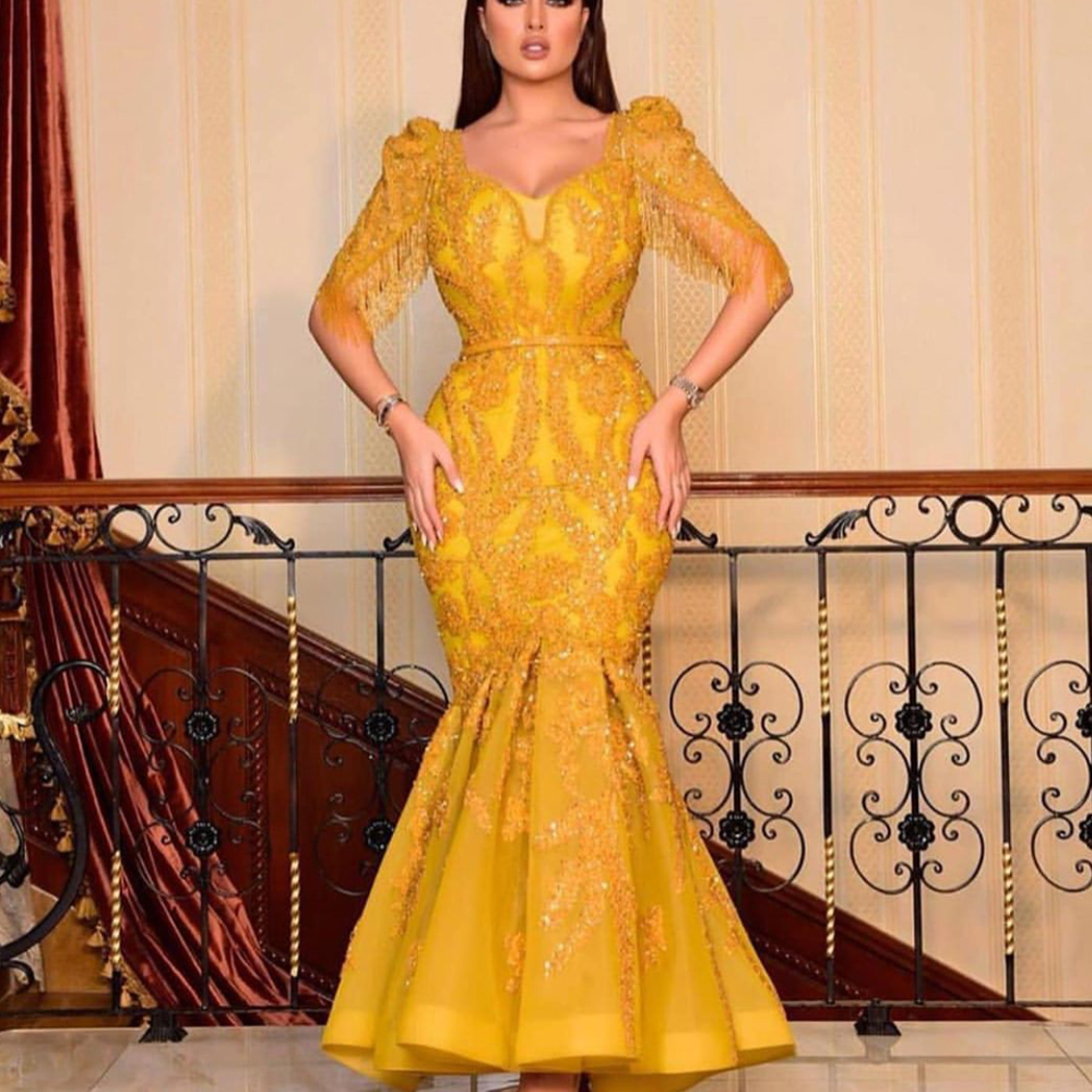 Yellow Prom Dresses 2020 V Neck Tassel Beading Lace Appliques Mermaid Half Sleeve Evening Dresses Arabic Formal Dresses