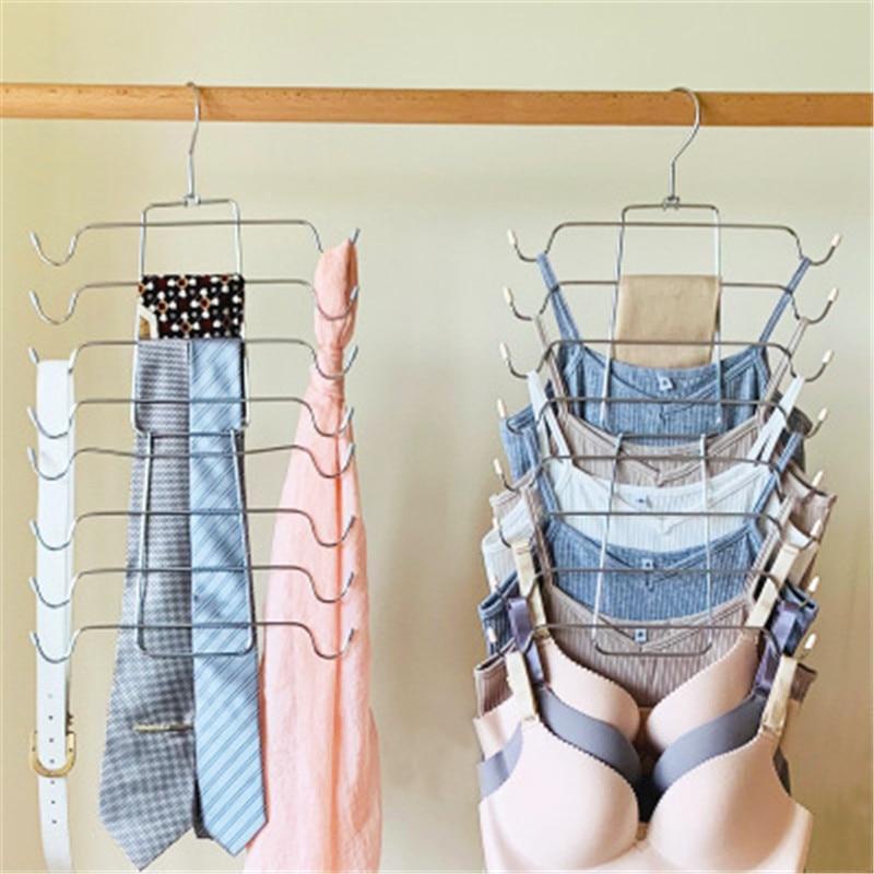 1PCs 8 Layers Underwear Storage Holders Hook Scarf Hangers Clothes Storage Holder Rack Coat Clothing Organizer Space Saver