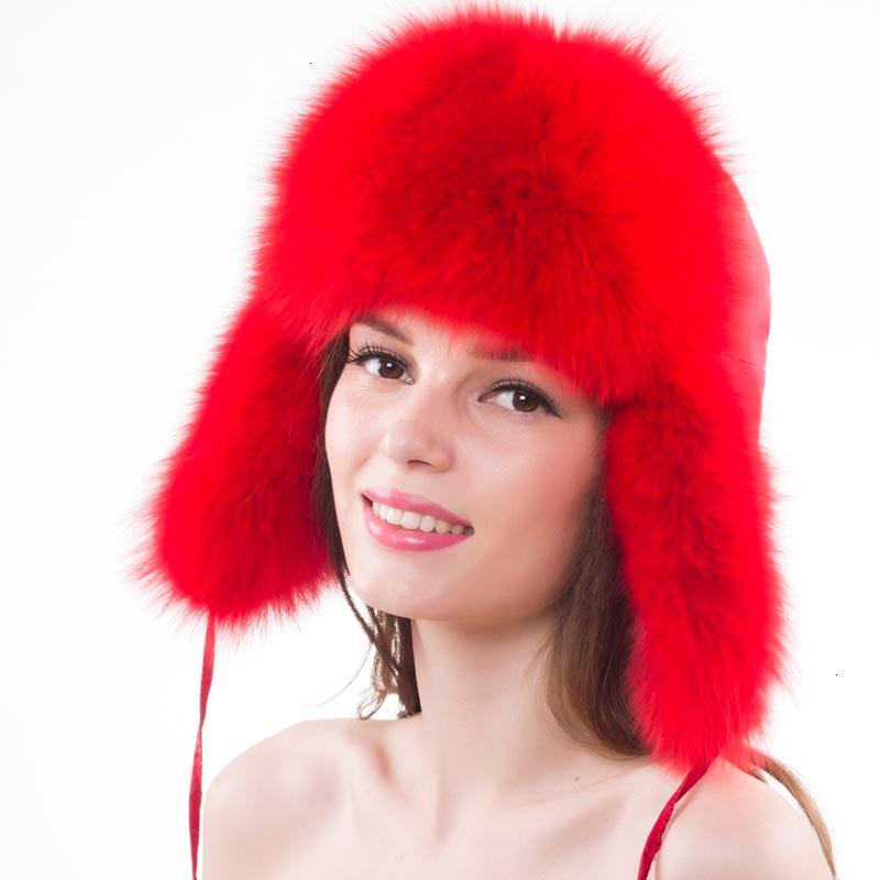 Women Natural Fox Fur Russian Ushanka Hats Girls Winter Warm Raccoon Fur Bomber Hats Winter Thick Warm Soft Ears Fashion Cap