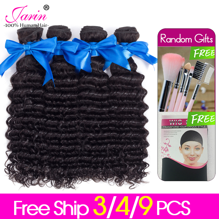 Weave-Extension Remy-Hair 3-4-9-Bundles Deep-Wave JARIN Natural-Color 100%Human-Hair title=
