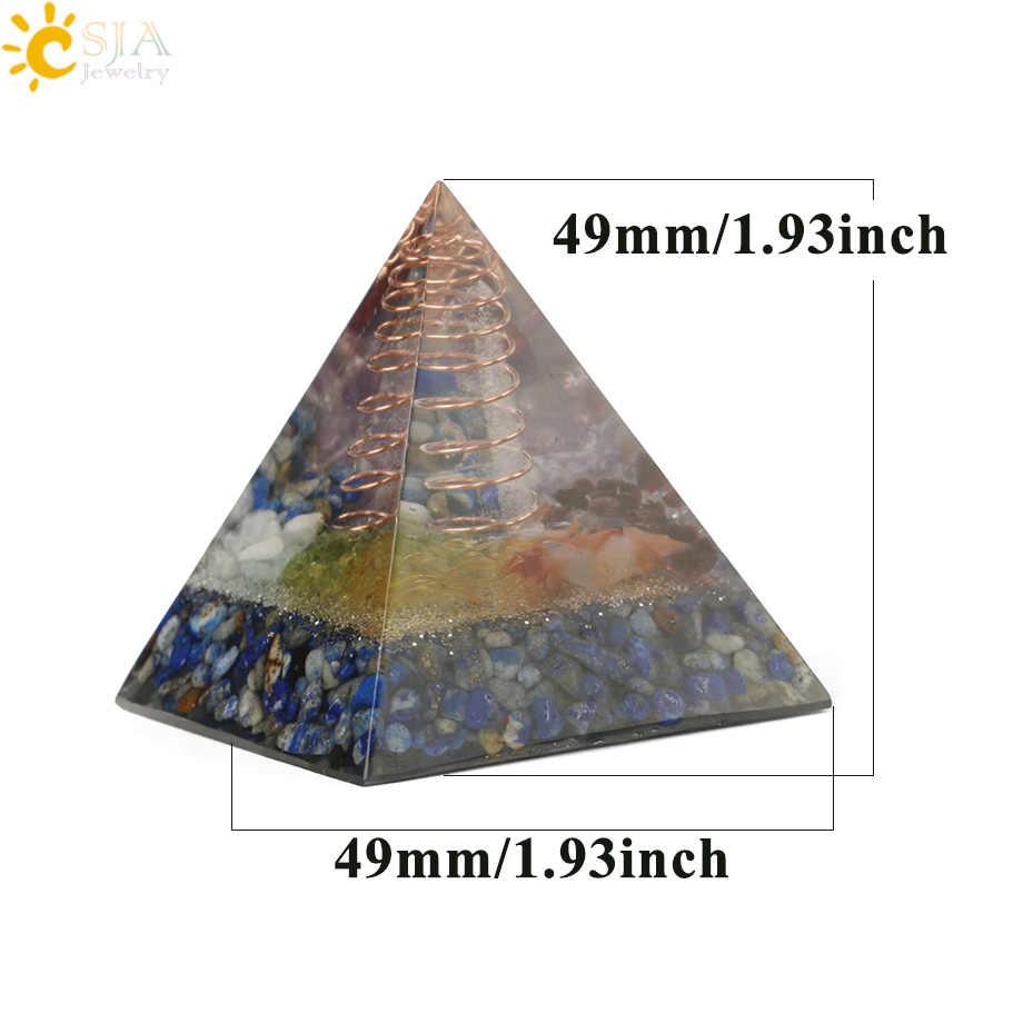 Csja 49x49 мм Orgone Пирамида Orgonite конвертер энергии природный гравий Chakra Смола металлическая спираль заживление удача украшение дома G258