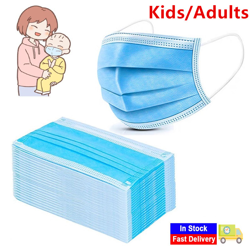 100PCS Kids Adults Disposable Masks 3 Layers Ply Non-woven Filter Earloop Mask Dustproof Anti-Dust Protective Face Mouth Mask