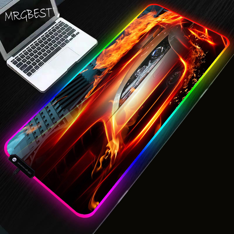 MRGBEST Cool Car Anime RGB Soft Large Game Mouse Pad Oversized LED Mousepad Non-slip Rubber Base Computer PC Keyboard Desk Mat L image