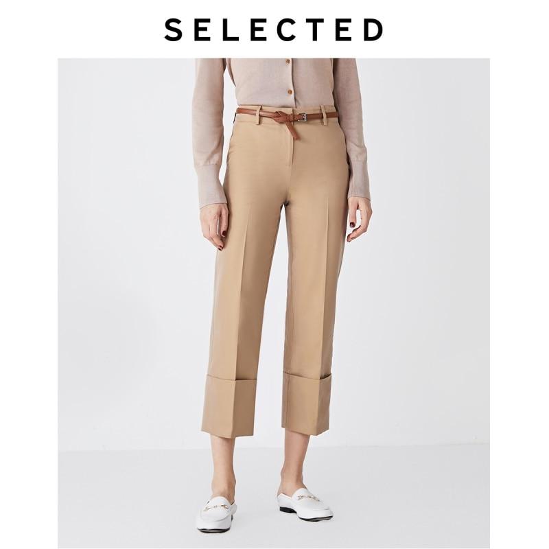 SELECTED Women's Cotton Stiff Rolled Cuffs Wide-leg Capri Pants S|419314507