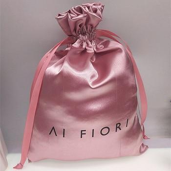 Wholesale 50pieces luxury shiny satin storage bag shoes clothes household dust bag wig hat ribbon drawstring bag storage bag