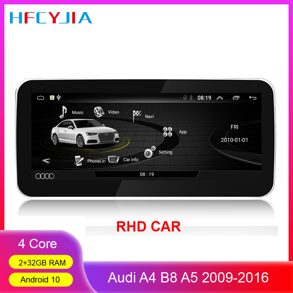 Car Multimedia Player For <font><b>Audi</b></font> <font><b>A4</b></font> B8 A5 2009-2016 RHD Android 10 System Google BT GPS Navi Stereo 2+32GB WIFI IPS Touch Screen image