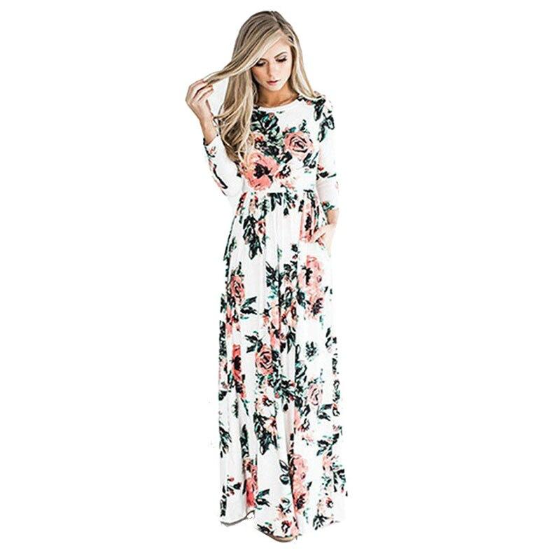 BKMGC  Women Vintage Printing  Autumn Winter Dress Elegant O-neck Loose Long Party Dress   Long Sleeves Bohemian Floral  Dress