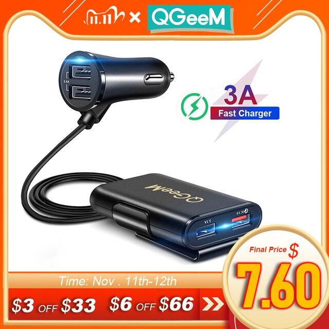 QGEEM 4 USB QC 3.0 Xe Ô Tô Quick Charge 3.0 Điện Thoại Trên Ô Tô Nhanh Mặt Trước Sau Adapter Sạc Xe Ô Tô Di Động Sạc cắm Dành Cho iPhone