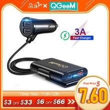Qgeem 4 usb qc 3.0 carregador de carro carga rápida 3.0 carro do telefone rápido frente traseira adaptador de carregador de carro portátil plugue do carregador para iphone